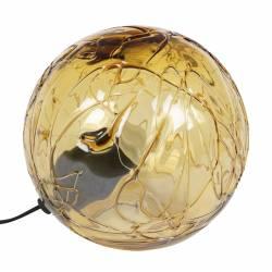 Lampe de Chevet Lune 25 Dutchbone Eclairage d'Appoint Luminaire d'Ambiance en Verre de Couleur Ambrée 24x25x25cm