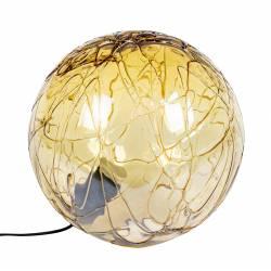 Lampe de Chevet Lune 40 Dutchbone Eclairage d'Appoint Luminaire d'Ambiance en Verre de Couleur Ambrée 39x40x40cm