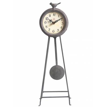 Horloge à Balancier sur Pied en Fer Pendule Café Des Marguerites avec Motif Oiseau 13x15x45cm