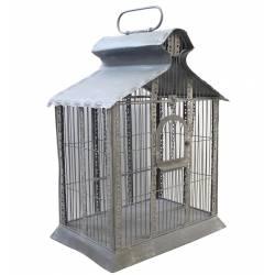 Grande Cage à Oiseaux Rectangulaire ou Volière Décorative Style Industriel en Fer Patiné Gris 38x55x82cm