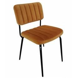 Chaise Paddy Gold Athezza Siège de Table Assise de Repas Rétro en Métal et Tissu 53x55x82cm