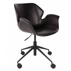 Chaise de Bureau Design Nikki Zuiver Fauteuil Réglable Noir en Cuir PU 77x77x90cm