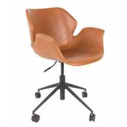 Chaise de Bureau Design Nikki Zuiver Fauteuil Réglable Marron en Cuir PU 77x77x90cm