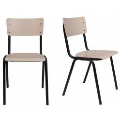Lot de 2 Chaises Back To School Matte Indoor Beige Zuiver Assise en Aluminium Thermolaqué 43x49x82,5cm