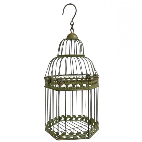 Grande Cage à Oiseaux à Poser ou Volière Décorative à Suspendre en Forme Hexagonale en Fer Patiné Vert 20x20x45cm