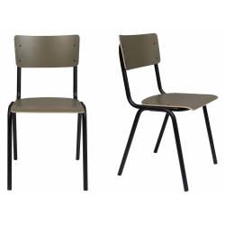 Lot de 2 Chaises Back To School Matte Indoor Vert Olive Zuiver Assise en Aluminium Thermolaqué 43x49x82,5cm