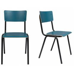 Lot de 2 Chaises Back To School Matte Indoor Bleu Pétrole Zuiver Assise en Aluminium Thermolaqué 43x49x82,5cm