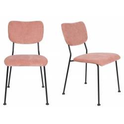 Lot de 2 Chaises Rose Benson Zuiver Assise de Table en Velours Côtelé et Acier 47x56x81cm