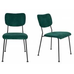 Lot de 2 Chaises Vert Benson Zuiver Assise de Table en Velours Côtelé et Acier 47x56x81cm