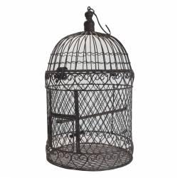 Grande Cage à Oiseaux Intérieur Extérieur ou Volière Décorative de Forme Ronde en Fer Patiné Marron 25x25x52cm