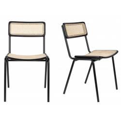 Lot de 2 Chaises Jort Zuiver Assise de Table en Cannage Rotin Noir 47x51x81cm