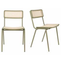 Lot de 2 Chaises Jort Zuiver Assise de Table en Cannage Rotin Vert 47x51x81cm