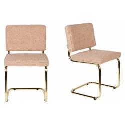 Lot de 2 Chaises Rose Teddy Zuiver Assise de Table en Tissu Texturé Passepoil 48x48x85cm