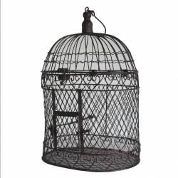 Petite Cage à Oiseaux Intérieur Extérieur ou Volière Décorative de Forme Ovale en Fer Patiné Marron 19x25,5x49cm