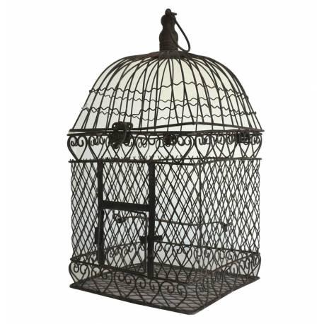 Petite Cage à Oiseaux Intérieur Extérieur ou Volière Décorative de Forme Carrée en Fer Patiné Marron 18,5x18,5x42,5cm