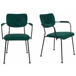 Lot de 2 Fauteuils Vert Benson Zuiver Assise de Table en Velours Côtelé et Acier 55,5x56x81cm