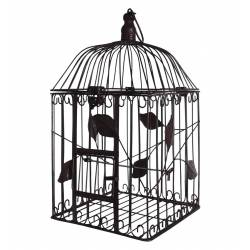 Petite Cage à Oiseaux à Poser ou Volière Enclos à Volatiles Carrée à Suspendre en Fer Patiné Marron 18,5x18,5x41cm