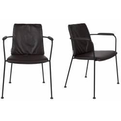 Lot de 2 Fauteuils Fab en Tissu Micro-perforé Noir Zuiver Assise de Table avec Accoudoirs 56x57x78,5cm