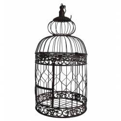 Petite Cage à Oiseaux à Poser ou Volière Enclos à Volatiles Ronde à Suspendre en Fer Patiné Marron 17x17x44cm