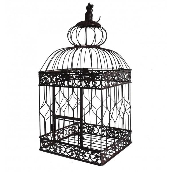 Grande Cage à Oiseaux à Poser ou Volière Enclos à Volatiles à Suspendre en Fer Patiné Marron 28x28x65,5cm