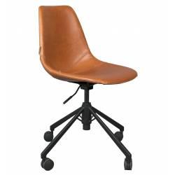 Chaise de Bureau Design Franky Dutchbone Chaise Réglable Marron en Cuir PU 67,5x67,5x88,5cm