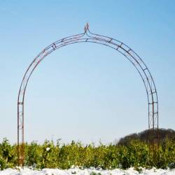 Sublime Arche Fleur de Lys Tuteur Arc à Rosiers Passage de Jardin en Acier Oxydé 33x283x260cm