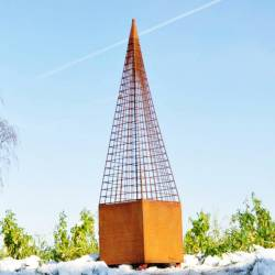 Obélisque Rêves de Jardins Jardinière Porte Rosier Buis Topiaire en Fer Forgé Gris Anthracite 40x40x220cm