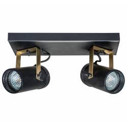 Luminaire Tendance Noir Scope Dutchbone Applique ou Plafonnier Industriel Rampe 2 Spots en Acier 8,5x16x24,8cm