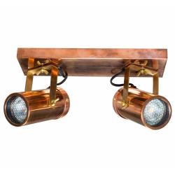 Luminaire Tendance Cuivre Scope Dutchbone Applique ou Plafonnier Industriel Rampe 2 Spots en Acier 8,5x16x24,8cm
