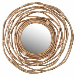 Miroir Gauri Gold Dutchbone Décoration Glace Murale Ronde en Métal Tressé Doré 6x60x60cm
