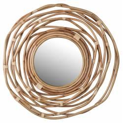 Miroir Kubu Dutchbone Décoration Glace Murale Ronde en Bois 3,2x75x75cm