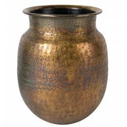 Vase à Fleurs à Poser Baha Soliflore en Aluminium Laiton 24x24x30cm
