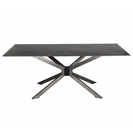 Table SPIDER de Signature Table de Salle à Manger Plateau en Pierre Bleue Pied Araignée Acier 76x90x200cm
