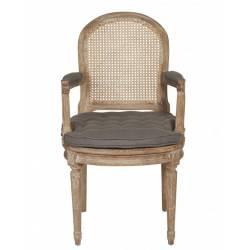 Fauteuil Bridge Louis XV Dossier Raquette Signature Chaise de Table Cannage Coussin Chêne et Tissu Gris 62x65x101cm