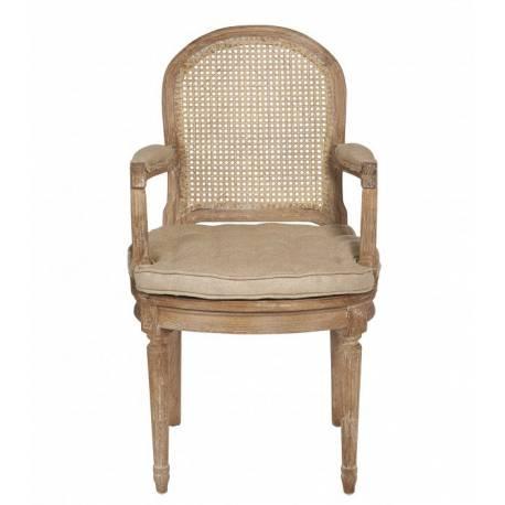 Fauteuil Bridge Louis XV Dossier Raquette Signature Chaise de Table Cannage Coussin Chêne et Tissu Jute 62x65x101cm