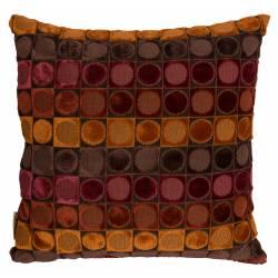 Coussin Décoratif Ottava Rouge et Orange Dutchbone Décoration de Canapé Lit Fauteuil en Tissu et Velours 45x45x45cm