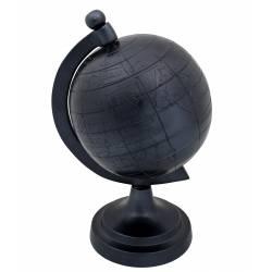 Mappemonde Miles Taille S Noir Dutchbone Globe Terrestre Décoratif Rotatif en Fonte d'Aluminium 15x17x27cm