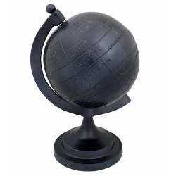 Mappemonde Miles Taille M Noir Dutchbone Globe Terrestre Décoratif Rotatif en Fonte d'Aluminium 20,5x23x33,5cm