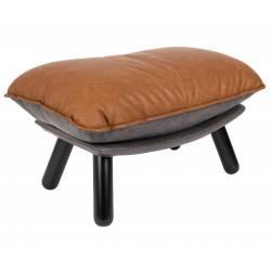 Repose-Pieds Lazy Sack Marron Zuiver Pouf Vintage Assise d'Appoint en Cuir PU et Bois 46x52x78cm