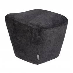Pouf Dusk Gris Foncé Zuiver Repose-Pieds Design Assise d'Appoint en Tissu et Métal 43x47x49cm