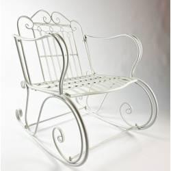 Rocking Chair Vienne Blanc Chaise Fauteuil de Jardin à Bascule Intérieur Extérieur en Métal Patiné 67x88x92cm