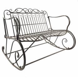 Rocking Chair Double Vienne Marron Fauteuil 2 Places de Jardin Banc à Bascule Intérieur Extérieur en Métal Patiné 88x89x114,5cm