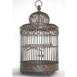 Petite Cage à Oiseaux de Jardin Intérieur Extérieur Ronde en Fer Patiné Marron 17x17x36cm