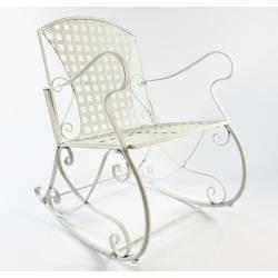 Rocking Chair Louisiane Blanc Chaise Fauteuil de Jardin à Bascule Intérieur Extérieur en Métal Patiné 60x80x89cm