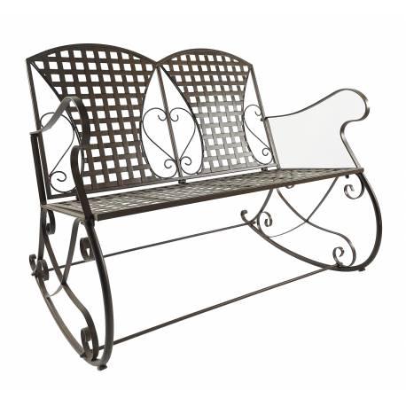 Rocking Chair Double Louisiane Marron Fauteuil 2 Places Banc à Bascule Intérieur Extérieur en Métal Patiné 80x89x104,5cm