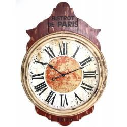 Grande Pendule Murale Horloge Géante en Bois Rouge et Blanc 5x69x102cm