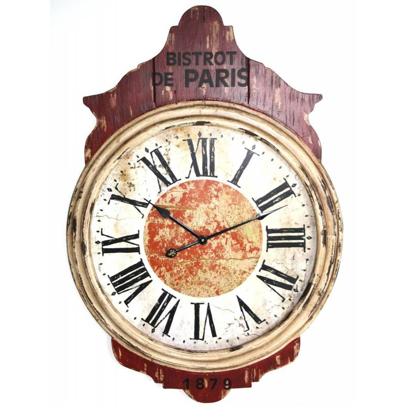 Grande pendule murale horloge g ante en bois rouge et blanc 5x69x102cm l 3 - Pendule murale rouge ...