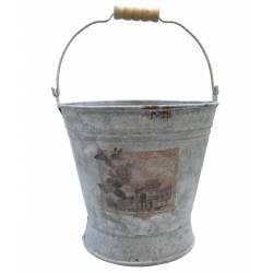 Grand Seau Décoratif Cache Pot Jardinière en Zinc 16x21x33cm
