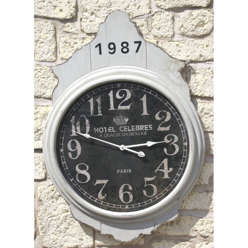 grande pendule murale horloge gante en bois gris et noir xxcm with grosse pendule murale. Black Bedroom Furniture Sets. Home Design Ideas