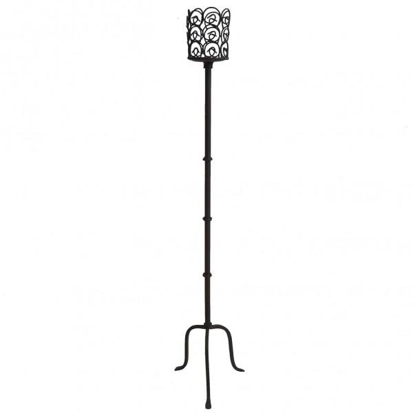 Grand Bougeoir Unique sur Pied Chandelier ou Candélabre 1 Bougie Décoratif Lumineux en Fer Patiné Marron 18x18x109cm